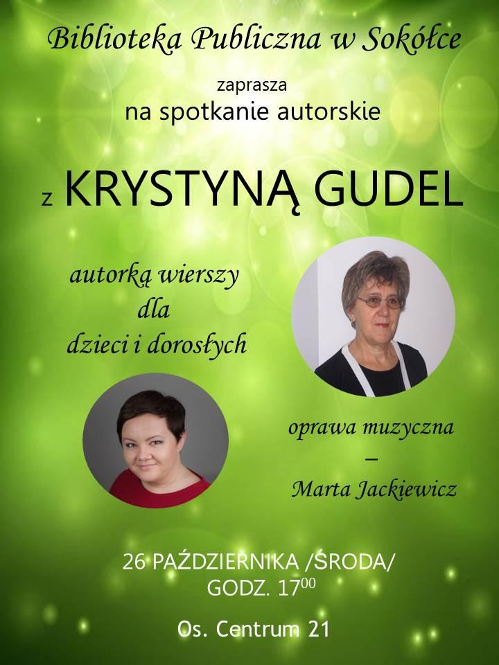Plakat informujący o spotkaniu z Krystyną Gudel